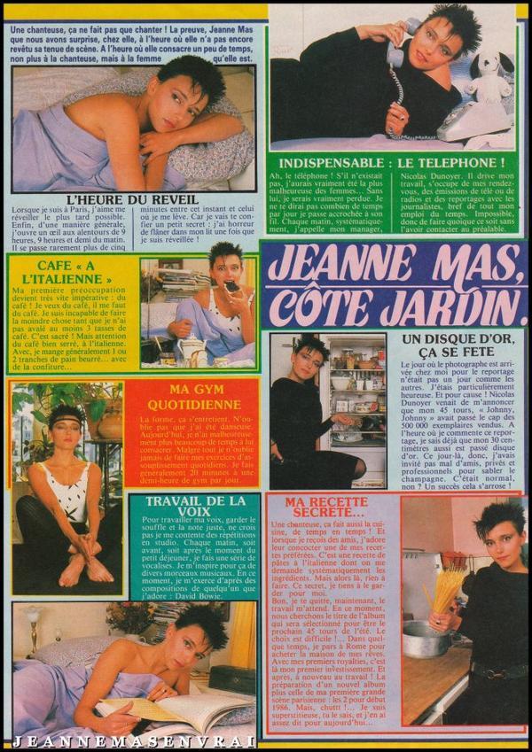 """Article de presse (1985)- Jeanne MAS - """"Côté jardin"""""""