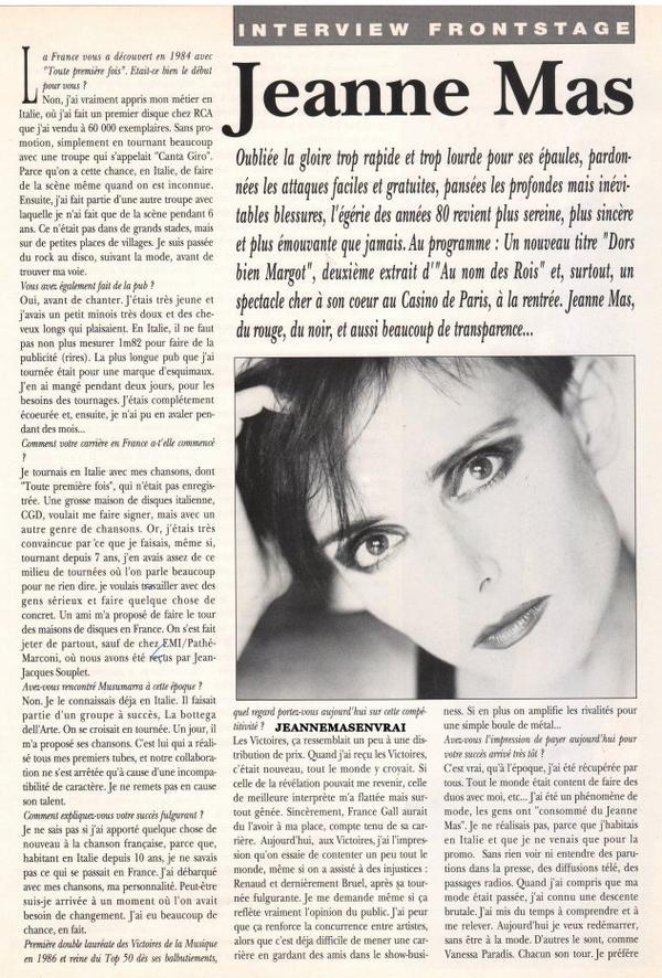 """Presse - 1ERE INTERVIEW de Jeanne au magazine des variétés """"PLATINE"""" (avril 1993)"""