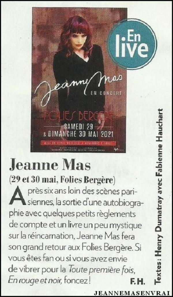 News presse -  Le magazine VOICI annonce les concerts  des Folies Bergère
