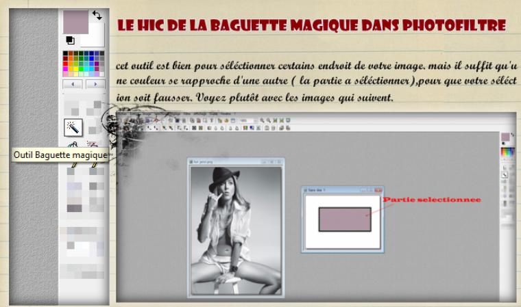 """L'outil """" baguette magic et son hic ! """" ( photofiltre)"""