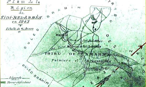 Carte de la région de Sidi Bel Abbes : avant 1945