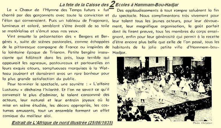 2* HAMMAM BOUHADJAR en 1935