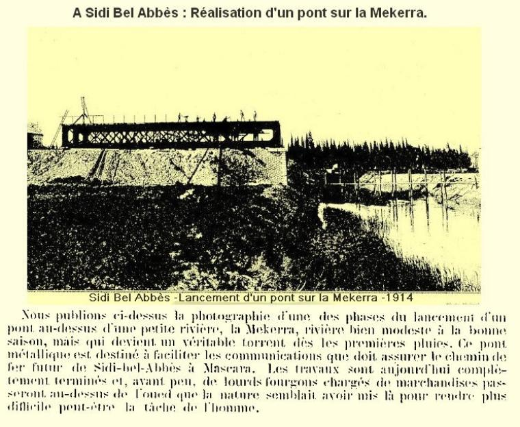 Sidi Bel Abbes : construction d'un pont en 1914