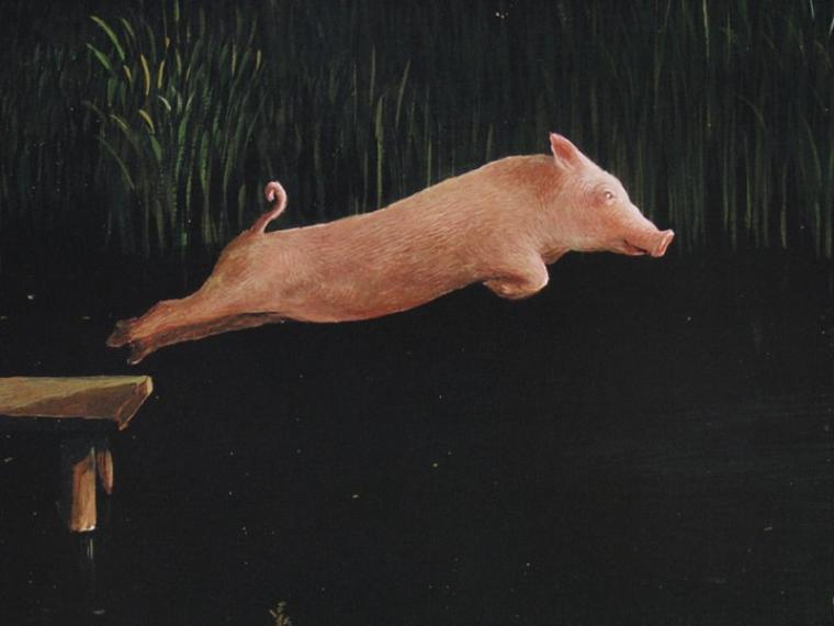 Encore un Michael Sowa  ,  petits gâtés    :  plongeon de cochon  +  détail.