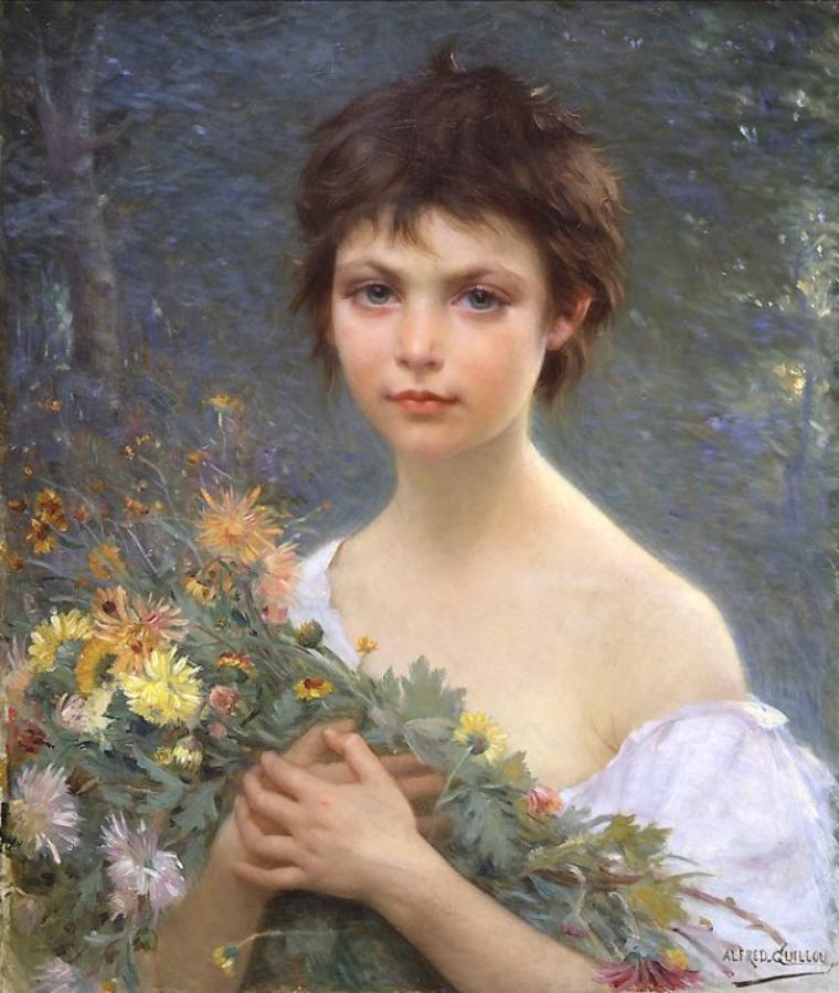 """Alfred Guillou  """"le groupe de Concarneau""""  (1844-1926)  :  bouquet matinal   /  Paul Verlaine."""