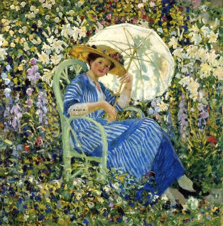 METEO DU JOUR  :   Frederick Frieseke  (1874-1939)    ,  life in the garden  ,  Giverny ca 1910.