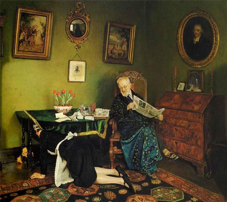 Charles Spencelayh  (1865-1958)    :  she stoops to conquer...