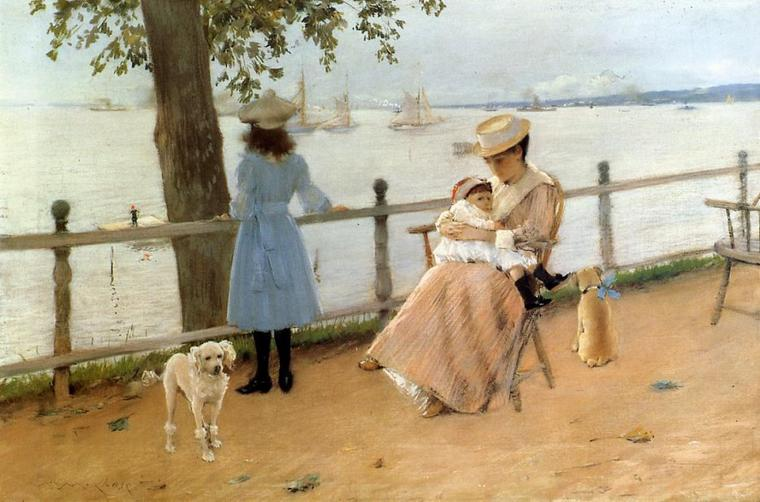 William Merritt Chase  (1849-1916)     :   afternoon by the sea  aka  Gravesend Bay