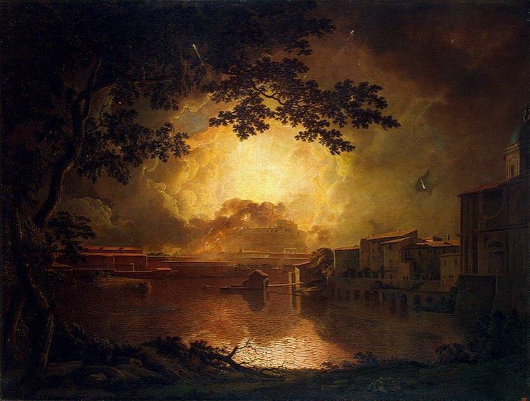 Joseph Wright of Derby  (1734-1797) un feu d'artifice à Castel San Angelo, Roma, un lundi de Pâques (1775)