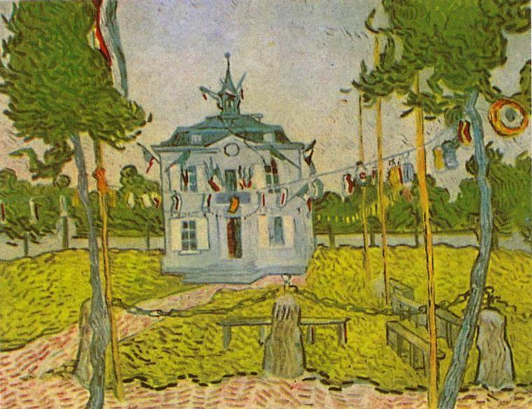 Vincent Van Gogh    :   la Mairie d' Auvers, 14 juillet 1890.