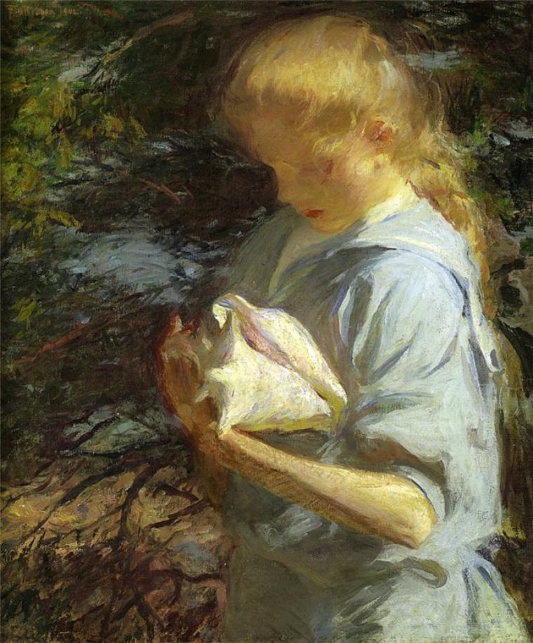 Franck Weston Benson   (1862-1951)   :  Eleanor holding a shell
