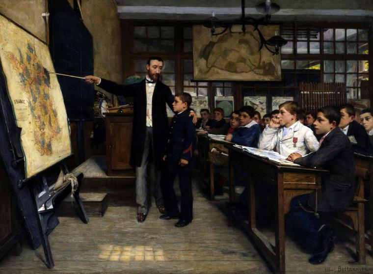 Albert Bettanier   (1851-1932)    :   la tache noire...ou le contexte douloureux de l'Alsace-Lorraine.