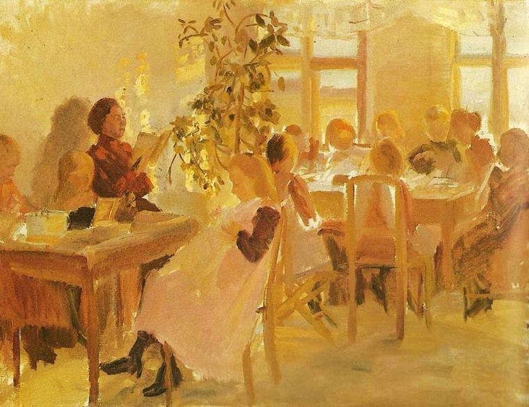 Anna Ancher    (1859-1935)    :  école à Skagen.