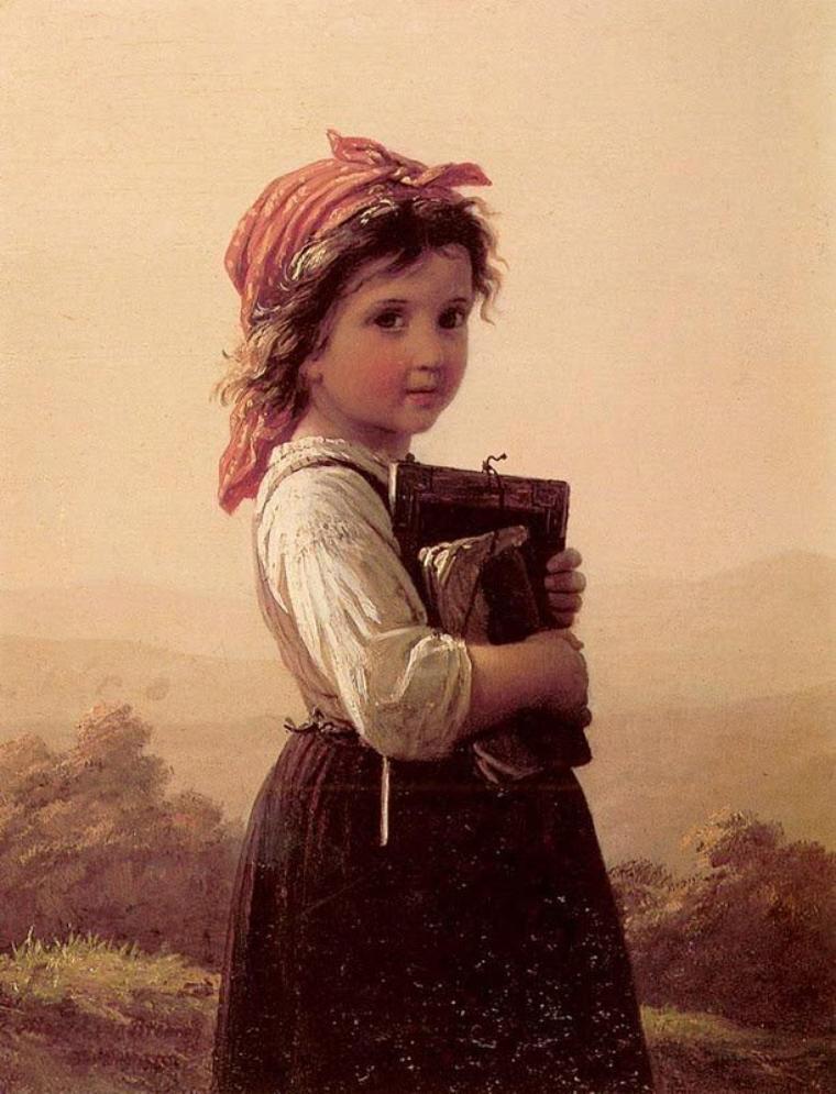 Yohann Georg Meyer Von Bremen   (1831-1886)   :  une petite écolière (1875)