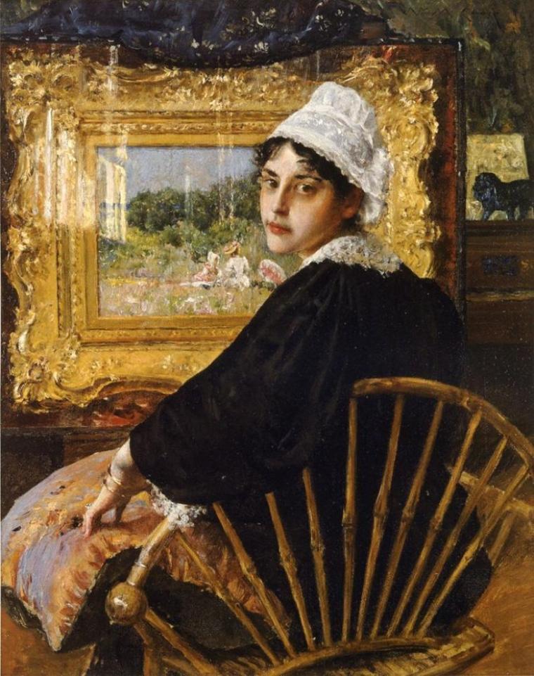 William Merritt Chase   (1849-1916)   :  Mrs W.M  Chase  ( Alice Bremond Gerson )  surprise dans l'admiration d'un tableau de son mari...(1892)