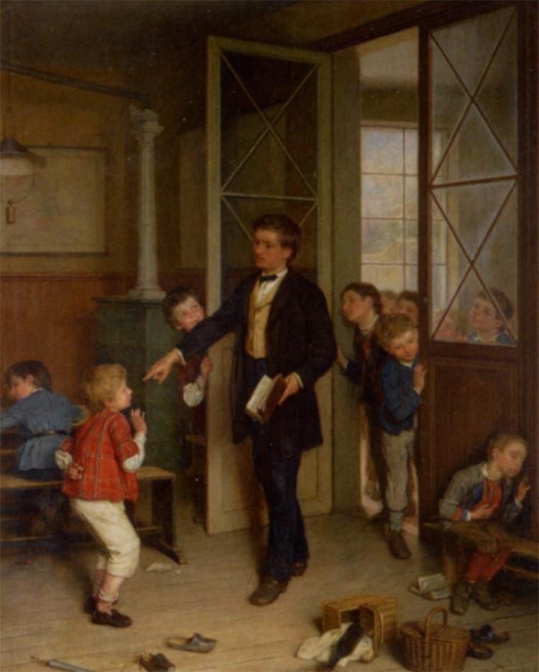 André Dargelas (1828-1906)   :   les petits fumeurs pris sur le fait...