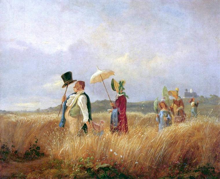 Carl Spitzweg  ,  poète et peintre allemand romantique  (1808-1885)  :  la promenade du dimanche