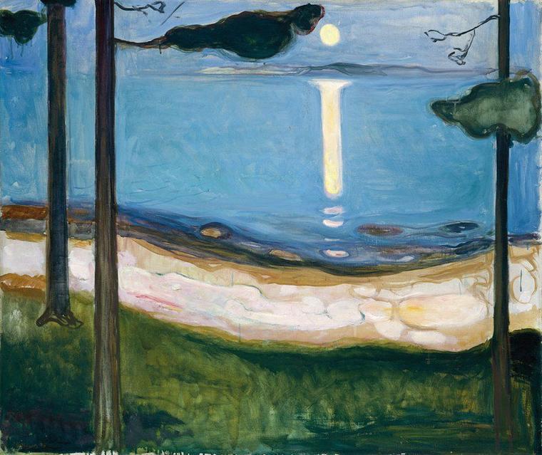 Edouard Manet   :  clair de lune sur le port de Boulogne (1869)  /   Vincent Van Gogh  /  Caspar Friedrich  (1824)  /  Winslow Homer  :  2 tableaux   /   Edvard Munch  (1863-1944)    :   moonlight