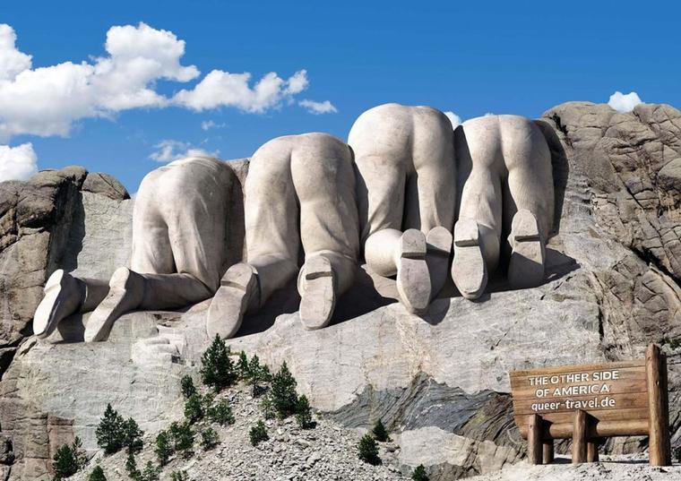Un peu de géographie pour les écoliers... :  le Mont Rushmore  , scuplture de Guzon Borglum  , South Dakota , U.S.A