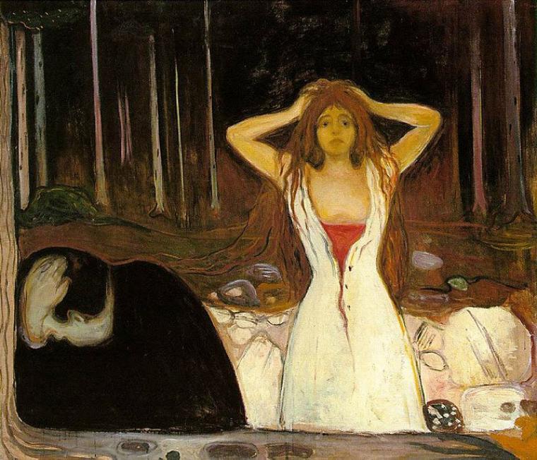 Edvard Munch  (1863-1944)    :   Ashes (1894)