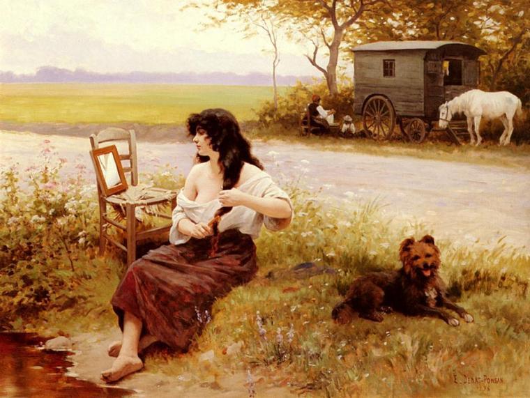 Edouard Debat-Ponsan (1847-1913)   :  la gitane à la toilette (1896)