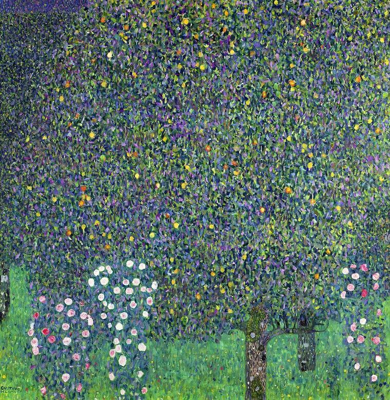 Fleur de saison  :  la rose     /   Gustav KLIMT   :  les rosiers sous les arbres.