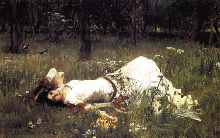 John William  WATERHOUSE  (1849-1917)  :  Ophélie (1889)