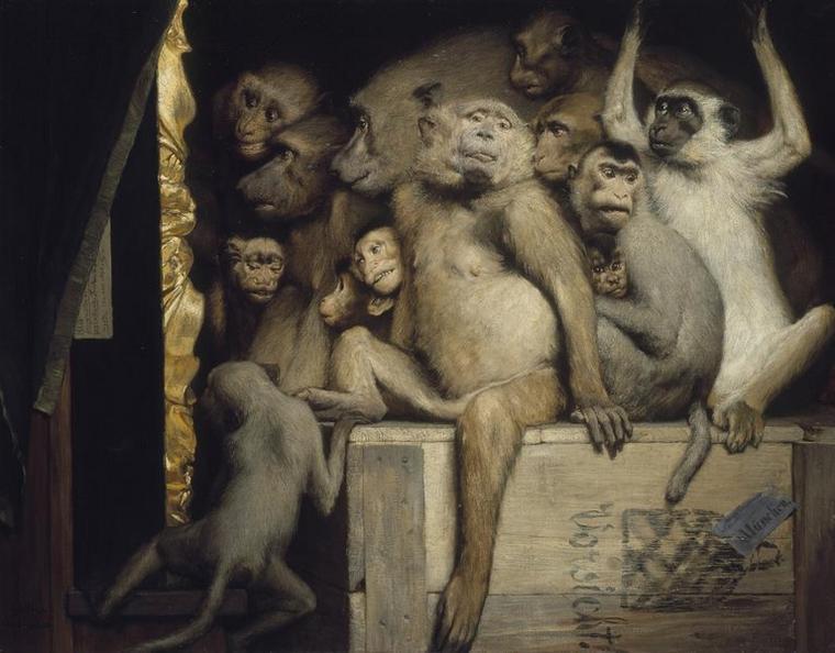 Amateurs d' art . . . (suite)  ,  Gabriel Cornélius Ritter  VON  MAX  (1840-1915)  :  les singes critiques d'art (1889)