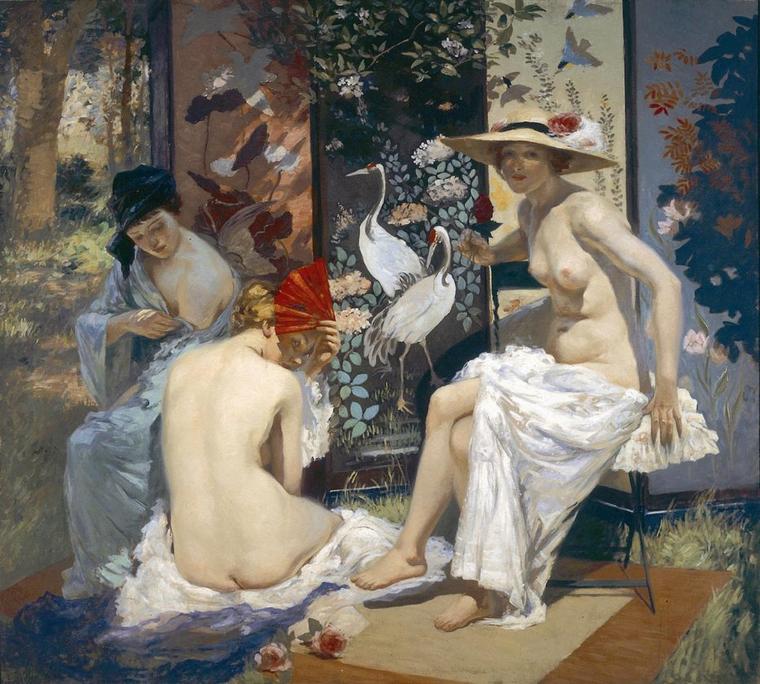 Rupert  BUNNY  (1864-1947)   :    the sun bath  (1913)