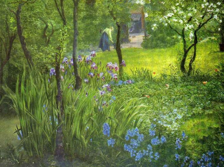 Thomas Matthew  ROOKE  (1842-1942)    :   a London garden (1904)