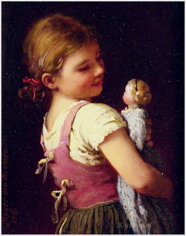 Johann Georg Meyer von Bremen   (1813-1886)   «Gretchen's Favourite»,  1881