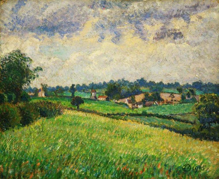 Météo du jour....   Lucien  PISSARRO  (1863-1944)    :  temps gris , Finchingfield  (1905)