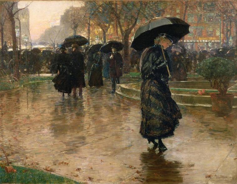Frederick  CHILDE  HASSAM  (1859-1935)   :  Rain Storm, Union Square (1890)