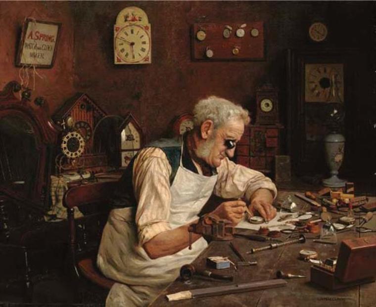 Charles Spencelayh ( 1865 – 1958) - Le temps entre ses mains...   /     Tout s'anéantit, tout périt, tout passe : il n'y a que le monde qui reste, il n'y a que le temps qui dure. [Denis Diderot]