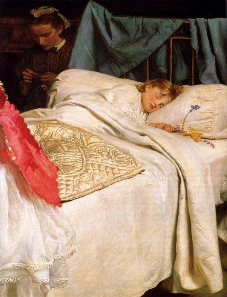 John Everett Millais (8 juin 1829 à Southampton – 13 août 1896 à Londres)    :   sleeping
