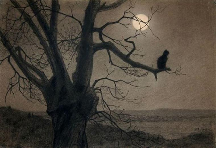 Théophile-Alexandre STEINLEN  (1859-1923)  : chat au clair de lune (on s'en serait douté...), vers 1900