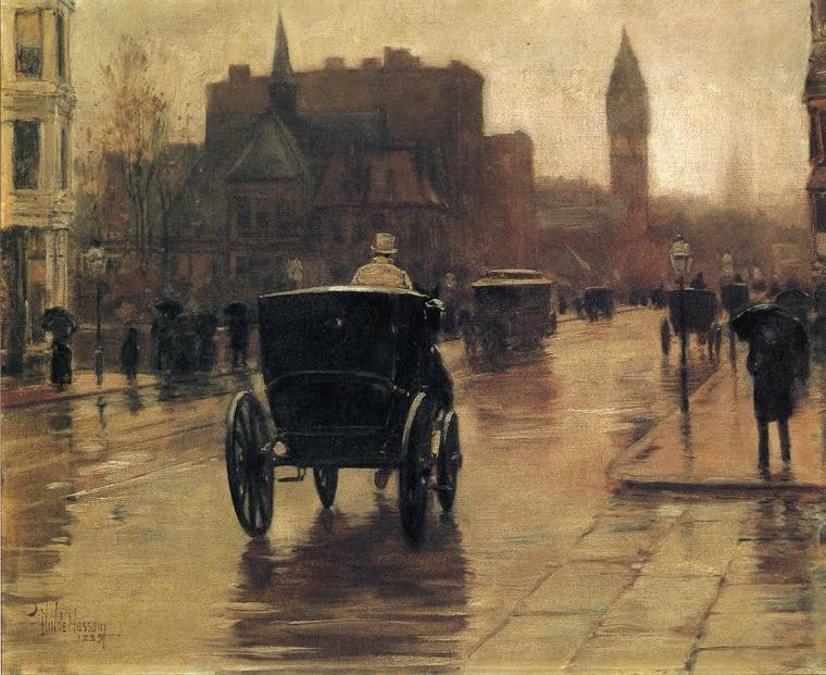 METEO DU JOUR...  Frederick  CHILDE  HASSAM  (1859-1935)     :   Colombus Avenue , rainy day  (1885)