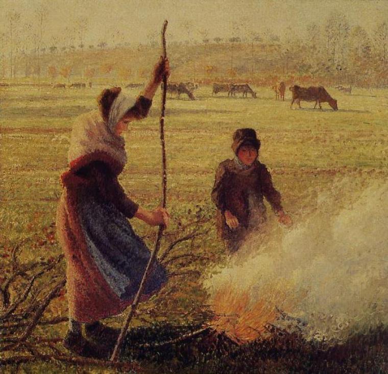 METEO DU JOUR...   , Camille  PISSARRO  (1830-1903)   :  la gardienne d'oies à Montfoucault   /   gelée blanche