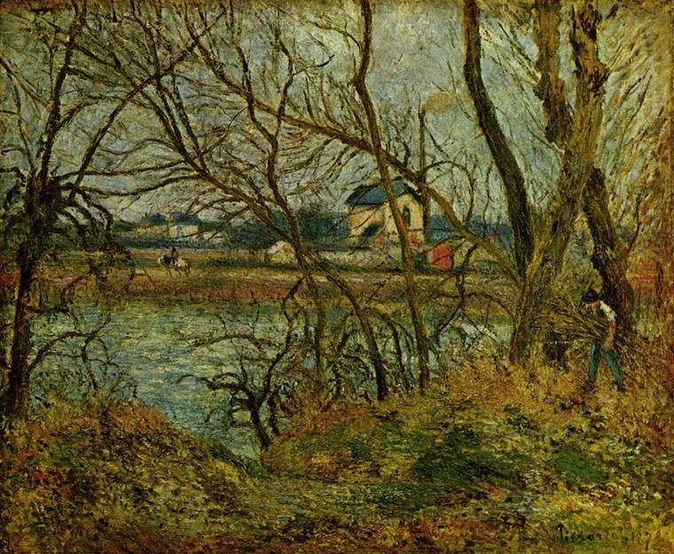 Camille  PISSARRO  (1830-1903)    :  jour gris , bords de l' Oise (1878)