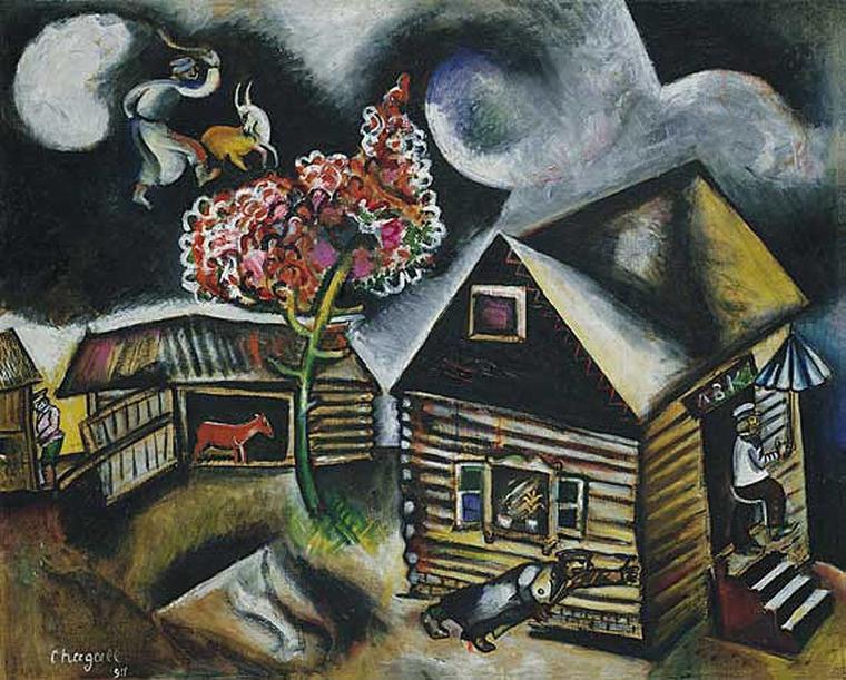 Météo du jour.... Marc  CHAGALL  (1887-1985)  , pluie  (1911)