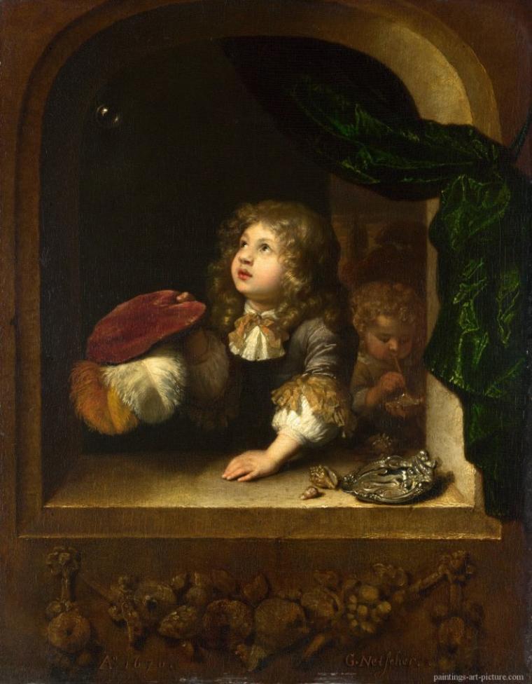 """Caspar  NETSCHER  (1639-1684)    /   """"  Il faut être léger et ne s'attarder sur rien """"  Pierre-Augustin  CARON DE BEAUMARCHAIS   (1732-1799)"""