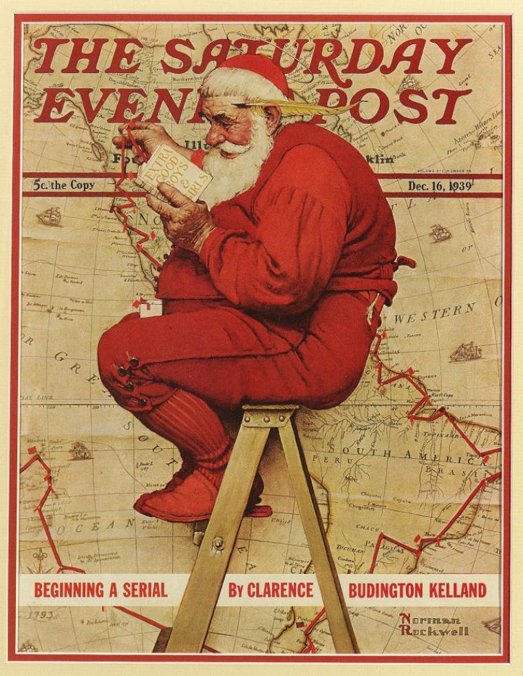 Norman  ROCKWELL  (1894-1878)   :  Santa Claus sans GPS...
