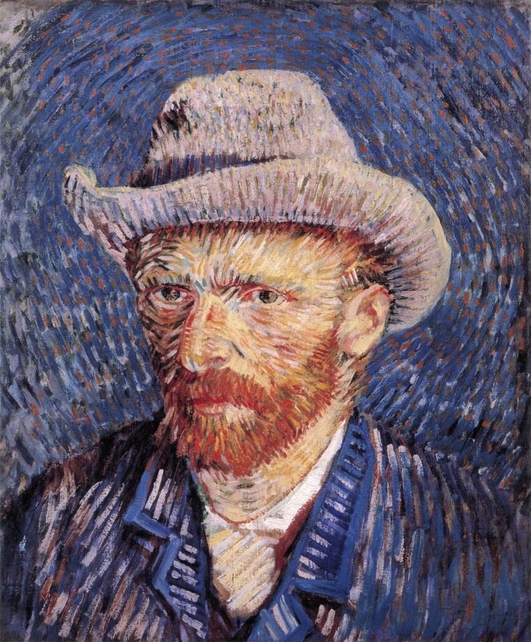 Le saint du jour........:   VINCENT  VAN GOGH  (1853-1890)  :  autoportrait au chapeau de feutre  (1887)