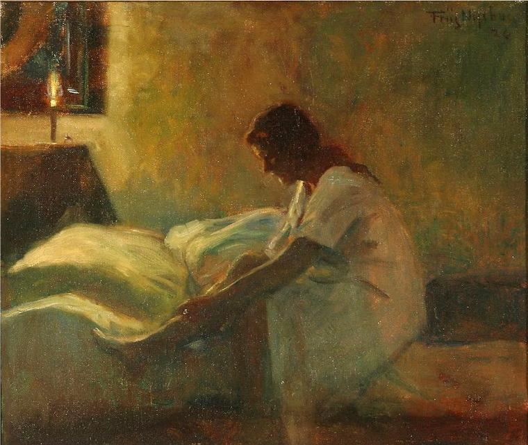 COUP  DE  COEUR  ...  Poul  FRIIS  NYBO  (1869-1929)   :  chambre à coucher et son occupante