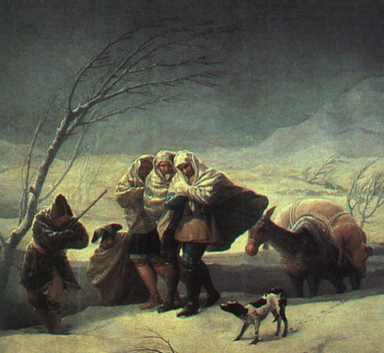 Météo du jour....  :  tempête de neige  (si, si ! )   /   Francisco  GOYA   (1749-1828)