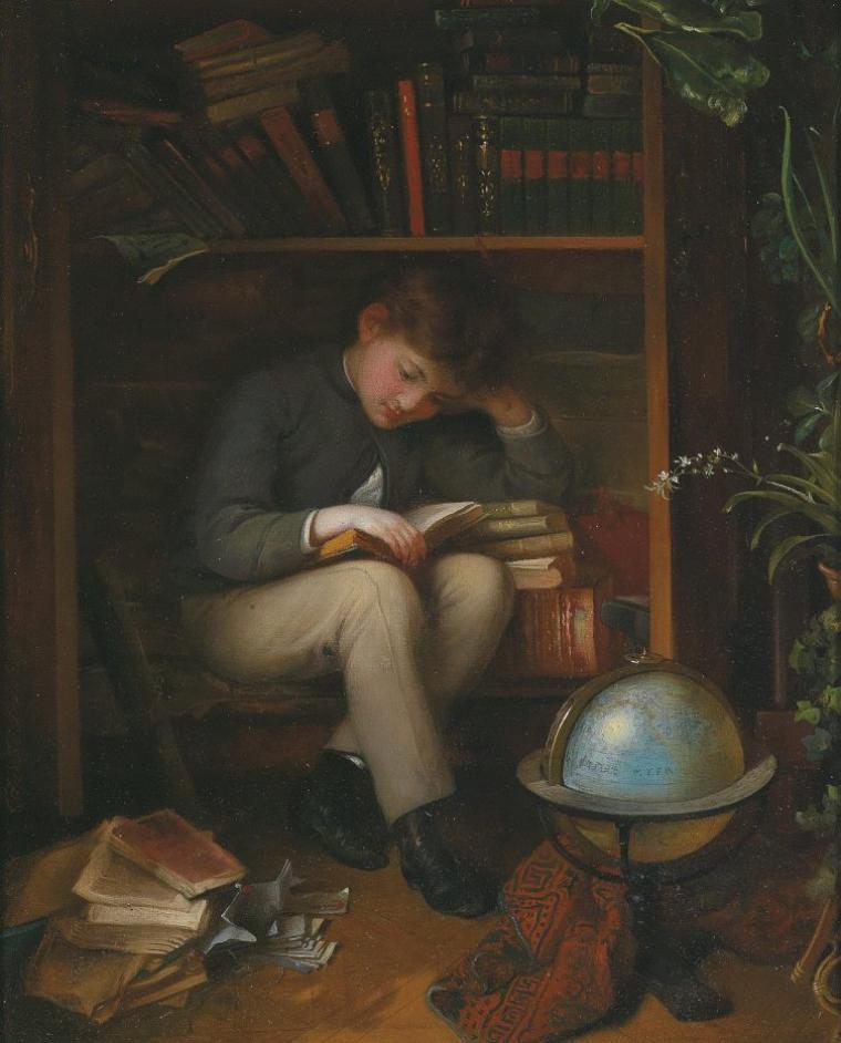 COUPS  DE  COEUR  ...  :  John WATKINS CHAPMAN (1853-1903)  , in the library   /   Terminons notre chapitre , on fera du rangement ensuite...