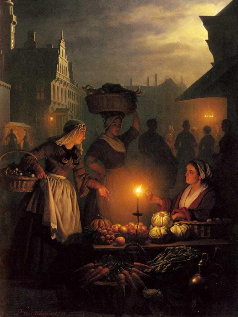Petrus van Schendel (1806-1870)  , scènes de marché à la chandelle ...