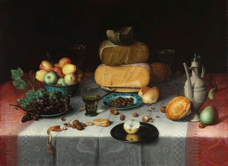 Un petit creux ? ...  Floris CLAESZ  VAN  DIJCK   (ca. 1575-1651)   /  Nature morte aux fromages , 1615