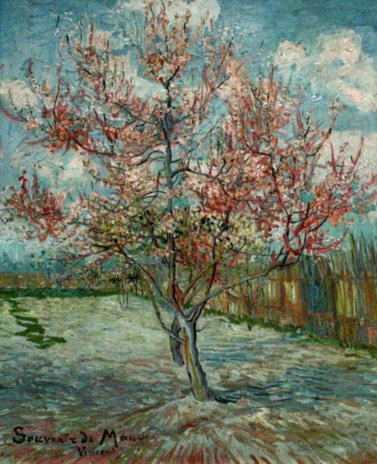 COUP  DE  COEUR  ...  Vincent  VAN  GOGH  (1853-1890)  : pêchers roses , souvenir de Mauve ( Anton Mauve , peintre hollandais ) , 30 mars 1888