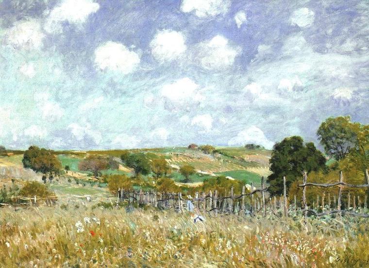 Alfred  SISLEY  (1839-1899)  :   les petits prés au printemps , 1880   /    prairie , 1875  ,  Quel ciel préférez-vous ?